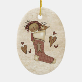 Raggedy Ann Country Primitive Stocking Double-Sided Oval Ceramic Christmas Ornament