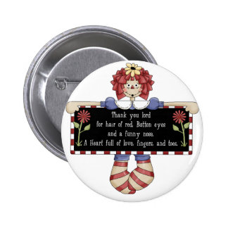 Raggedy Ann Doll Tshirts and Gifts 2 Inch Round Button