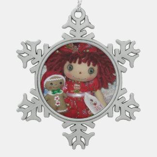 Raggedy Ann & Gingerbread Snowflake Ornament