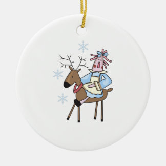 RAGGEDY ANN ON REINDEER Double-Sided CERAMIC ROUND CHRISTMAS ORNAMENT