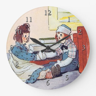 Raggedy Ann & Raggedy Andy Meet for the First Time Large Clock