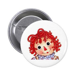 Raggedy Ann smiling face Pinback Button