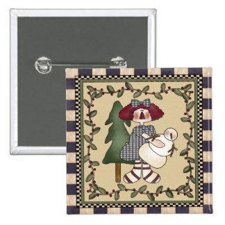Raggedy Annie and Snowman 2 Inch Square Button