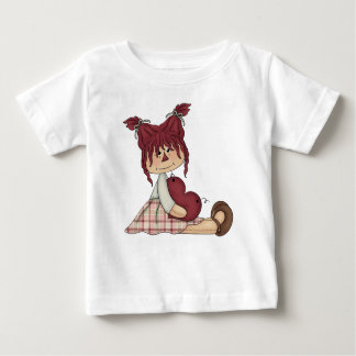 Raggedy Country Prim Doll Red Heart Pink Girl Baby T-Shirt