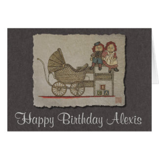 Raggedy Doll & Baby Buggy Greeting Card