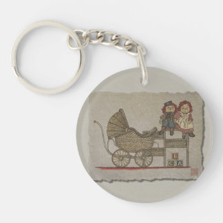 Raggedy Doll & Baby Buggy Double-Sided Round Acrylic Keychain