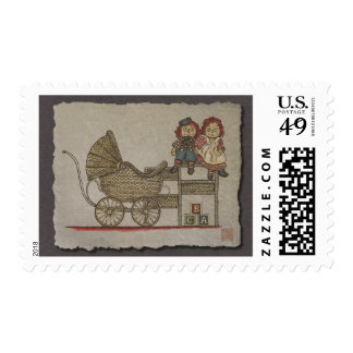 Raggedy Doll & Baby Buggy Postage Stamp