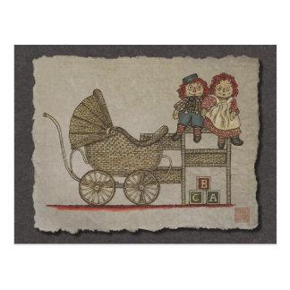 Raggedy Doll & Baby Buggy Postcard