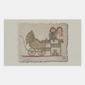 Raggedy Doll & Baby Buggy Rectangular Sticker