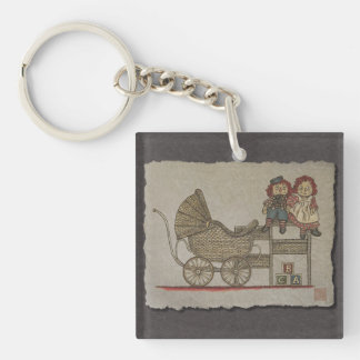 Raggedy Doll & Baby Buggy Single-Sided Square Acrylic Keychain