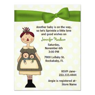 Raggedy Doll Mommy Baby Sprinkle Shower Invitation