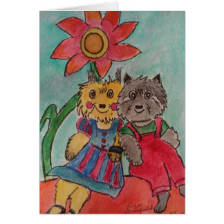 Raggedy Emmy And Mikey Dog Greeting Card