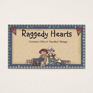 Raggedy Hearts Primitive Country Business Card