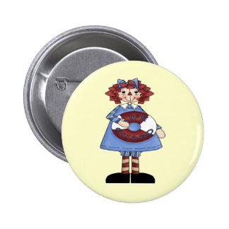 Raggedy June 2 Inch Round Button
