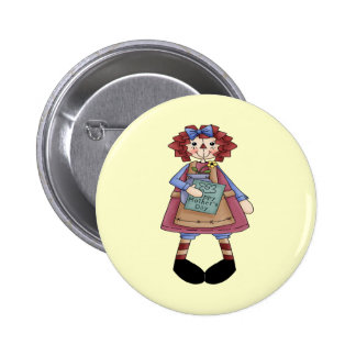 Raggedy May 2 Inch Round Button
