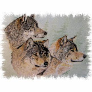 ragid de tres lobos fotoescultura vertical