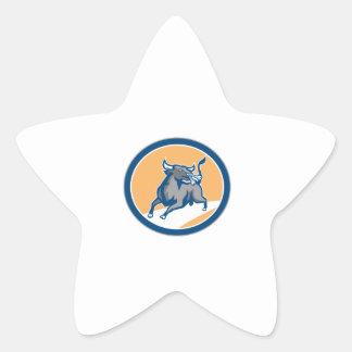 Raging Bull Attacking Charging Circle Retro Stickers