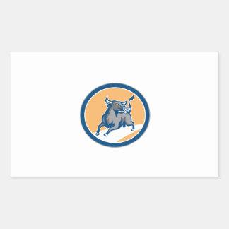 Raging Bull Attacking Charging Circle Retro Rectangular Stickers