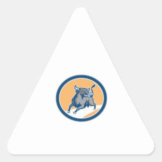 Raging Bull Attacking Charging Circle Retro Sticker