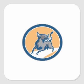 Raging Bull Attacking Charging Circle Retro Square Stickers