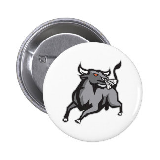 Raging Bull Attacking Charging Retro Pinback Button