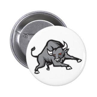 Raging Bull Attacking Charging Retro Pins