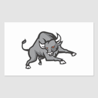 Raging Bull Attacking Charging Retro Stickers