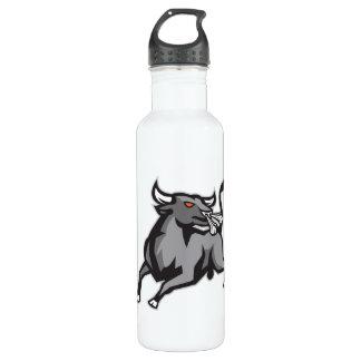 Raging Bull Attacking Charging Retro Water Bottle