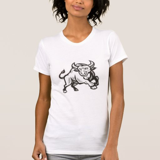 Raging Bull Attacking Charging Woodcut T-shirts