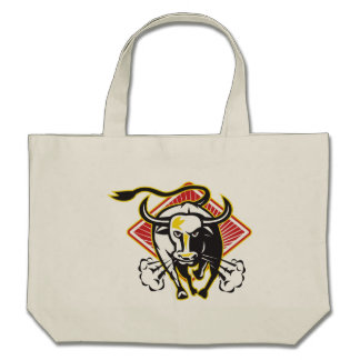 Raging Bull Charging Attacking Canvas Bag