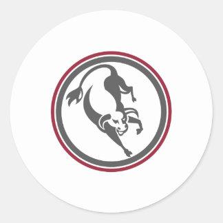 Raging Bull Charging Circle Retro Round Stickers