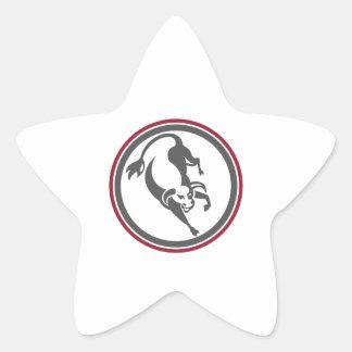Raging Bull Charging Circle Retro Star Stickers