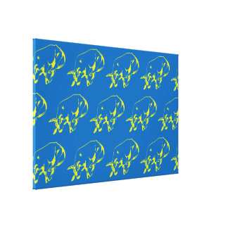 Raging Bull Green Blue Canvas Print