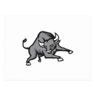 Raging Bull que ataca la carga retra Tarjetas Postales