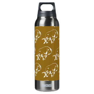 Raging Bulle White Tan 16 Oz Insulated SIGG Thermos Water Bottle