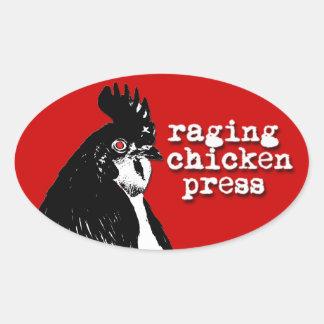 Raging Chicken Logo Oval Sticker w/ text