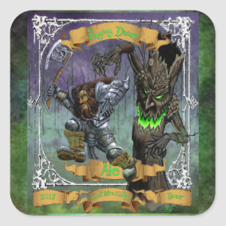 Raging Dwarf Ale Square Sticker