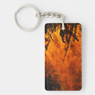 Raging Fire Double-Sided Rectangular Acrylic Keychain