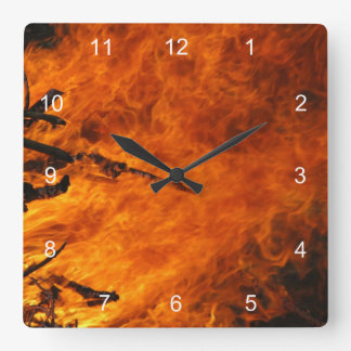 Raging Fire Square Wall Clock