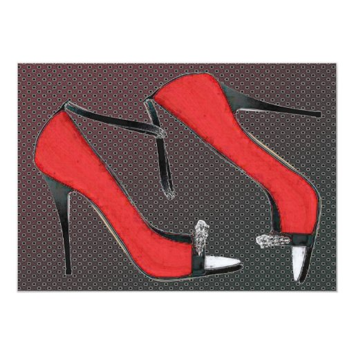 Raging Red Open Toed Stilettos Personalized Announcement