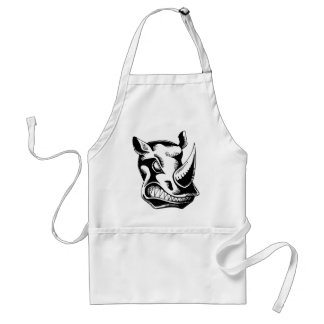 RAGING RHINO TATTOO TRIBAL VECTOR GRAPHIC APRONS