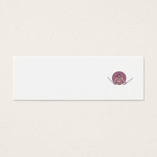 Raging Samurai Warrior Two Swords Oval Drawing Mini Business Card
