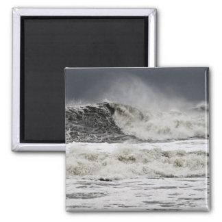 Raging Seas Of Hurricane Sandy 2 Inch Square Magnet