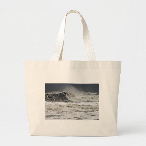 Raging Seas Of Hurricane Sandy Canvas Bag