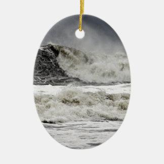 Raging Seas Of Hurricane Sandy Ceramic Ornament
