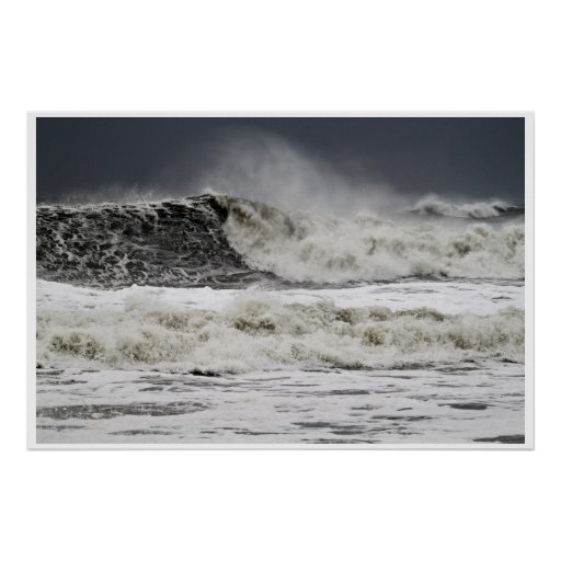 Raging Seas Of Hurricane Sandy Poster