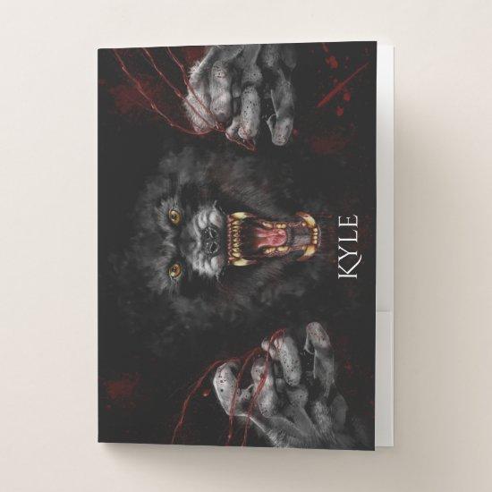 Raging Snarling Fangs Werewolf Pocket Folder