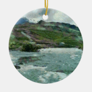 Raging water streams in the hills ceramic ornament
