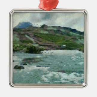 Raging water streams in the hills metal ornament