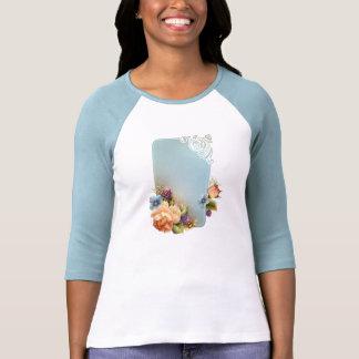 Raglán de la señora 3/4 manga de la flor (cabido) camisetas